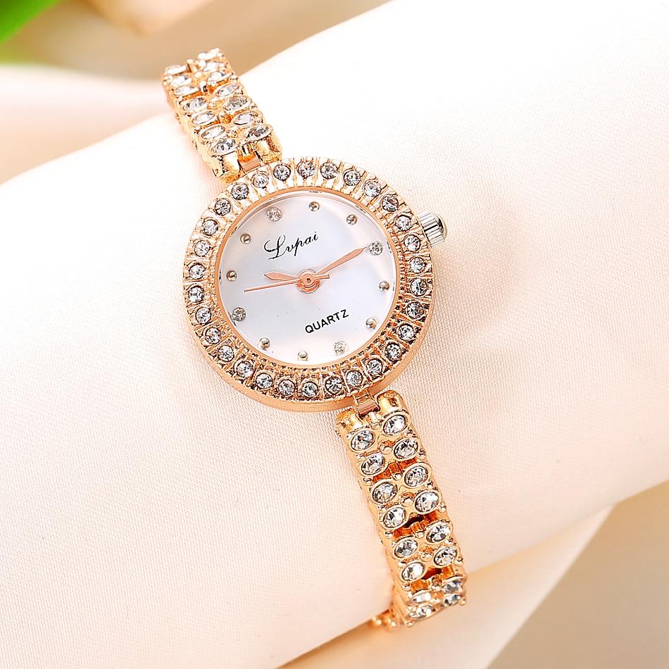 Fashion Women Dress Watches Luxury Crystal Bracelet Quartz Wristwatch Lvpai Brand Watches For Women Rose Gold Casual Watch