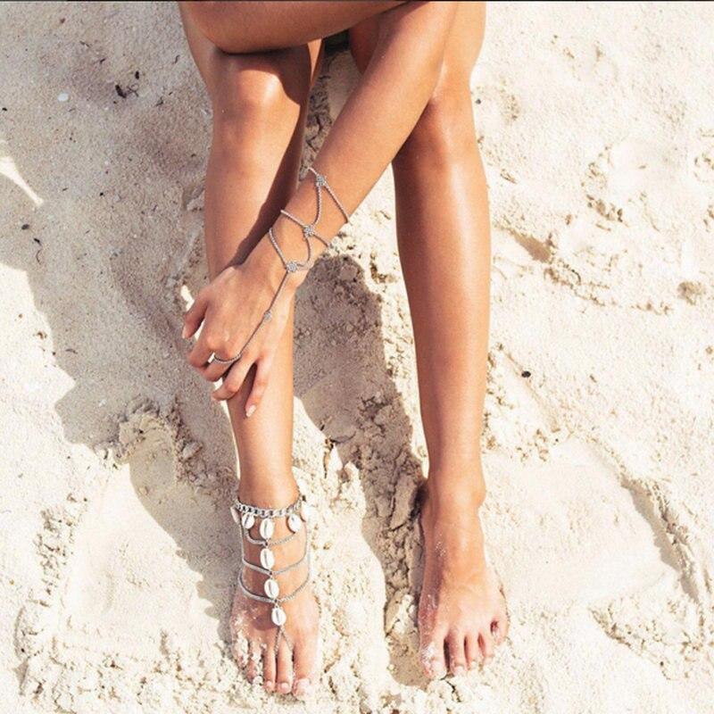 Vintage Antique Silver Color Retro Shell Anklets Women