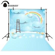 Allenjoy fotografia backdrops escada rainbow nublado azul bebê estrelas dos desenhos animados fundos para estúdio de fotografia de vinil pano de fundo