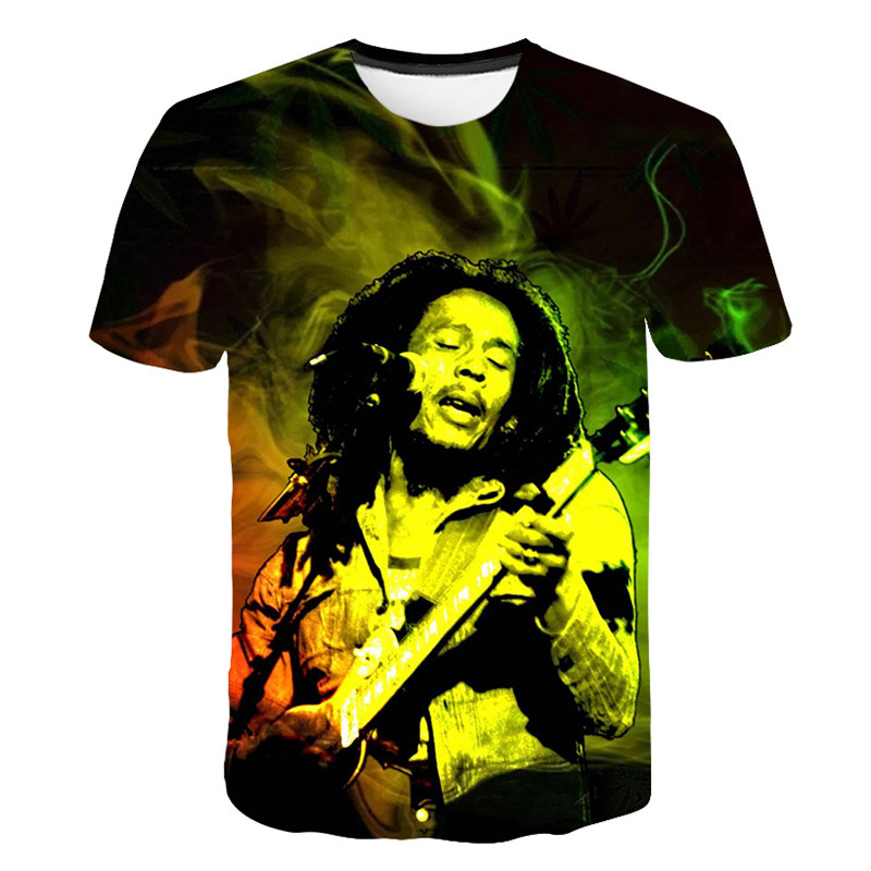 Summer New Men Men Fashion Sweatshirt 3D Print Singer Bob Marley T Shirt Short Sleeve Top Harajuku Casual Pullover