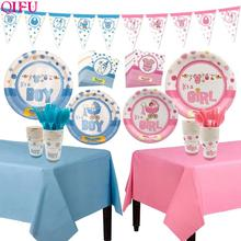 где купить QIFU Baby Shower Boy Girl Its a Girl Blue Pink Balloon Party Decoration First Birthday Gender Reveal BabyShower Party Supplies дешево
