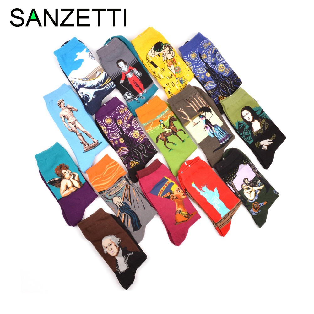 SANZETTI 5 Pairs/Lot Novelty Fashion Men's Combed Cotton Socks Casual Crew Funny Oil Painting Dress Wedding For Male Happy Sock