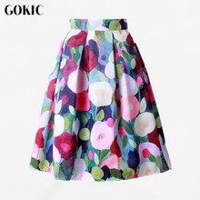 GOKIC 2017 Summer Women Vintage Retro Satin Floral Pleated Skirts Audrey Hepburn Style High Waist A-Line tutu Midi Skirt