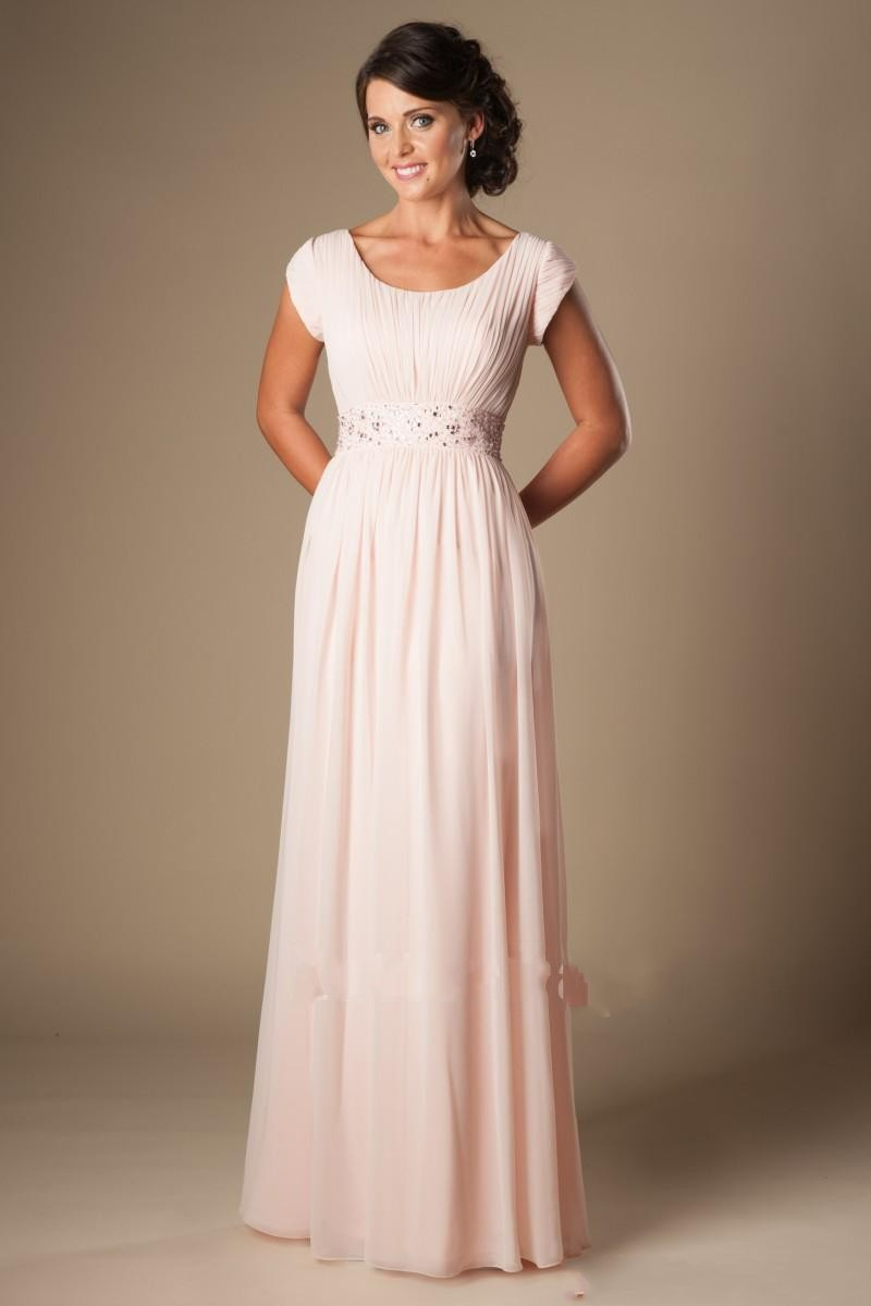 Blushing pink long formal modest chiffon beach bridesmaid for Elegant modest wedding dresses