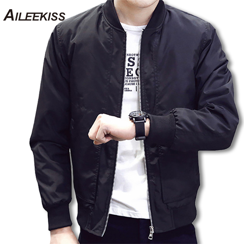 2018 Spring Autumn Casual Solid Fashion Slim Bomber Jacket Men Overcoat Baseball Jackets Men's streetwear Jacket 4xl Top XT380