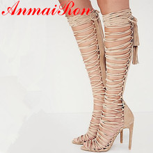 ANMAIRON Plus Size 34-43 New Sexy Knee High Gladiator Sandals Heels Lace Up Suede Summer Boots Thin Party Dance Shoes