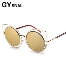 GY SNAIL 2017 new Fashion Brand Design Cat Eye Sun glasses Women Alloy Frame Women Luxury Cat ear SunGlasses ladies round metal