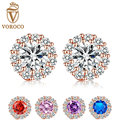 New Fashion Gold Plated 5 Color Round Crystals Stud Earrings with AAA Zircon Women Jewelry Birthday Gift E054