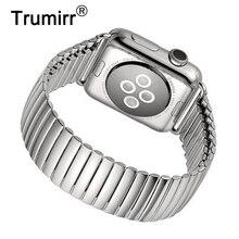 Эластичный ремешок для часов iWatch Apple Watch 38 мм 40 мм 42 мм 44 мм серия 5 4 3 2 браслет из нержавеющей стали аксессуар ремешок серебристый