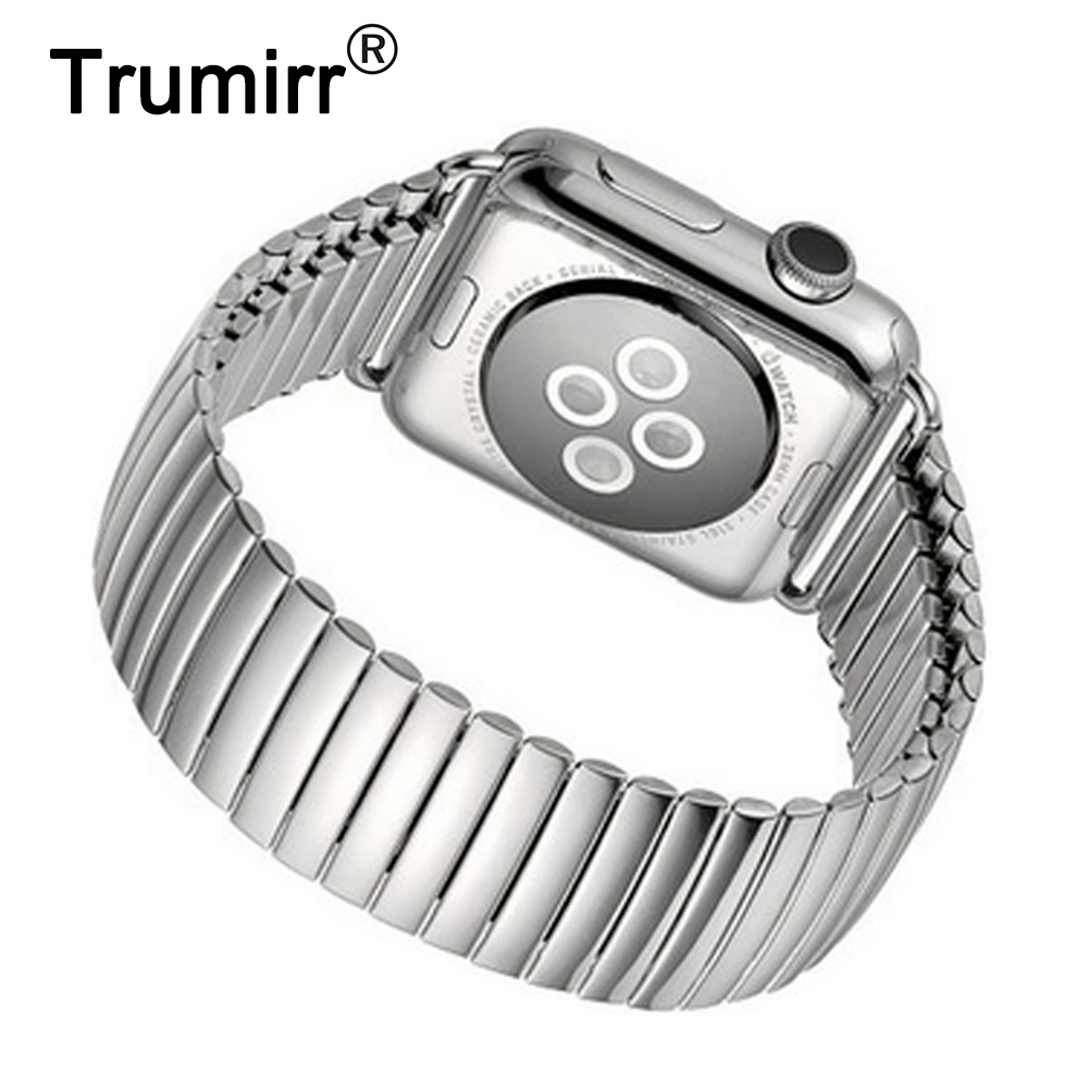 22mm 24mm Elastic Watchband for iWatch Apple Watch 38mm 42mm Stainless Steel Bracelet Band Strap with Connector Adapter Silver