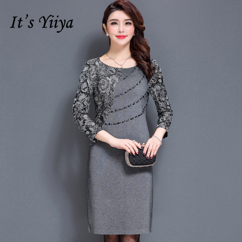 It's Yiiya Mother Of The Bride Dresses O-Neck Three Quarter Sleeve Lace Slim Plus Size A-Line Elegant Mother Dress M031