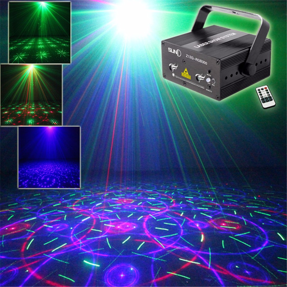 AUCD Mini Red Green Blue Laser Light DJ Projector Blue LED Mixing Effect KTV Home Party Show Holiday Stage Lighting Z12G-RGB300 mini rgb laser projector light red green blue mixing dj disco stage lighting effect for bar club party show lights