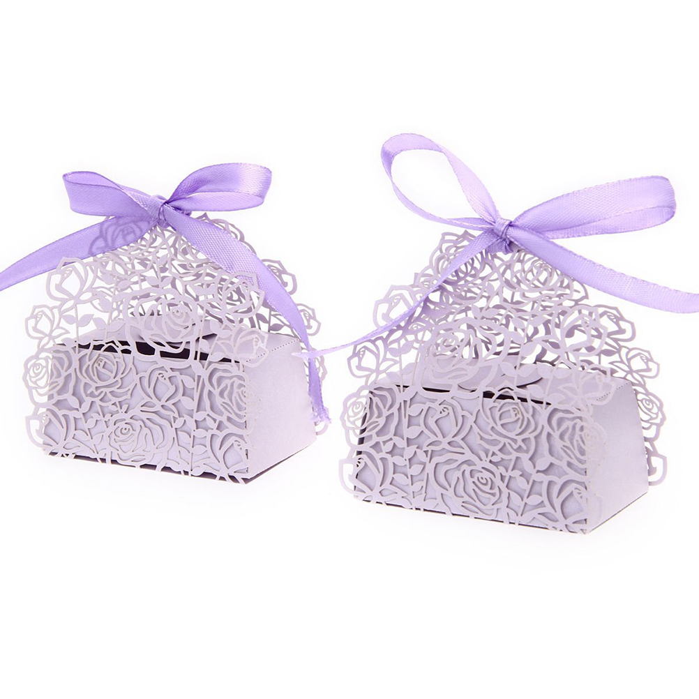 50 Pack Roses Flowers Laser Cut Favor Candy Box Bomboniere with Ribbons Bridal Shower Wedding Party Favors-in Gift Bags & Wrapping Supplies from Home ...