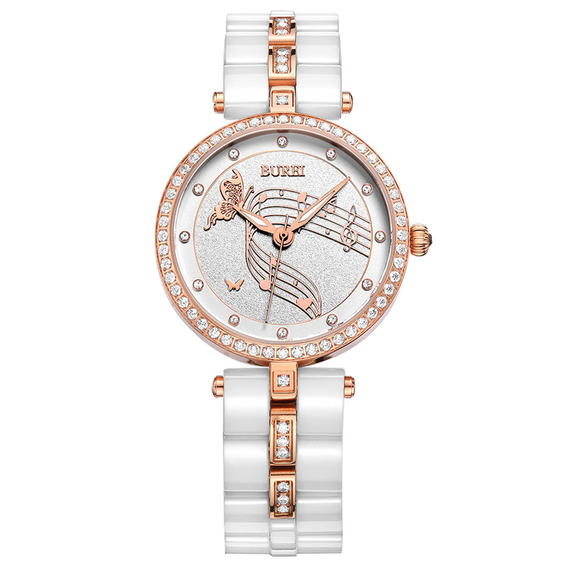 BUREI Rose Gold Women Wristwatches Fashion watches Female Ceramic Band Waterproof Quartz Watch Luxury Rhinestone Lady Analog New burei luxury women watch fashion ceramic band watches sapphire glass quartz wristwatch waterproof lady clock montre femme