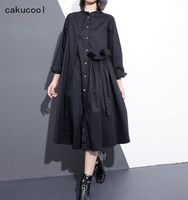 Cakucool Spring Black Long Dress Women Oversize Loose Casual Long Sleeve Vestido Brief Ruffled Stand Collar