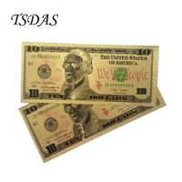 American 10 Dollar Bill Gold Foil Banknote Fake USD Currency Souvenir Plated Banknote Selling 10pcs