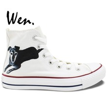 Wen Hand Painted Shoes Design Custom Pet Dog White High Top Men Women's Canvas Sneakers for Presents