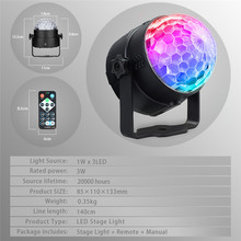 Disco Ball Party Lights RGB LED Stage Sound Activated Rotating Strobe Light 3W for Christmas Home KTV Xmas Wedding Show