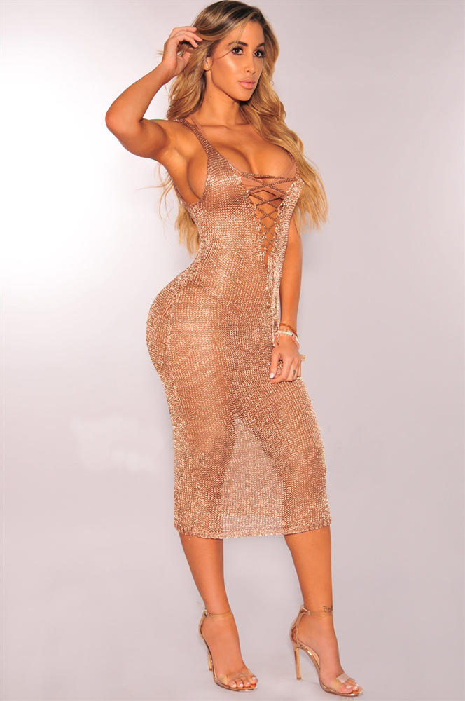 Sexy Women Sweater Dresses Sleeveless Scratched Vestido 2017 Lace Up New Lady Party Club Rose Gold Knitted Dress