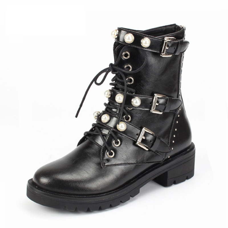 2018 marque de luxe européenne femmes en cuir véritable moto bottes perle chaussures d'hiver femmes Botas Mujer taille 35-40