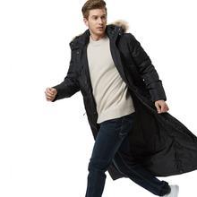 Зимняя мужская Черная куртка новинка зимняя супер длины повседневная