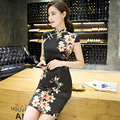 Shanghai Story Short Sleeve Black cheongsam Qipao Vintage Woman Dress chinese traditional dress national Oriental dress
