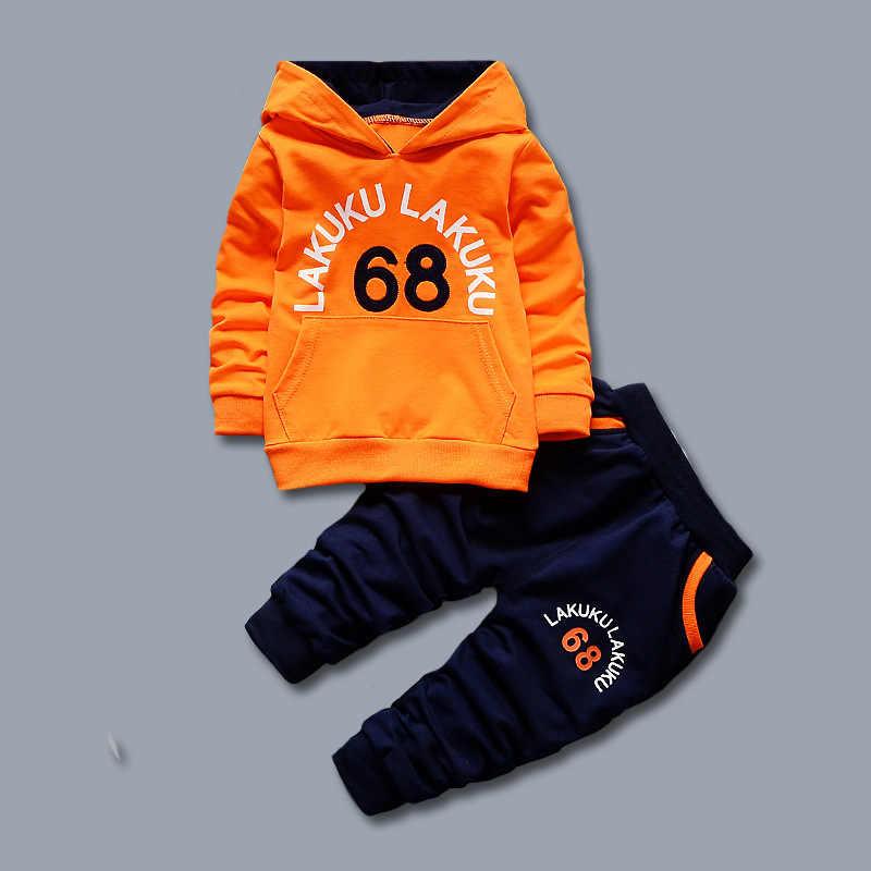 Chándal niño Otoño Ropa de Bebé Conjuntos Niños Niños Niñas Ropa de La Marca de Moda Sudadera Con Capucha Camiseta Y Pantalones 2 Unids Trajes