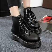 COOTELILI/Модная обувь на плоской подошве, на молнии, Женская обувь на высоком каблуке сапоги из искусственной кожи на платформе со шнуровкой; женская обувь по щиколотку для девочек; сезон осень; большие размеры 35-40