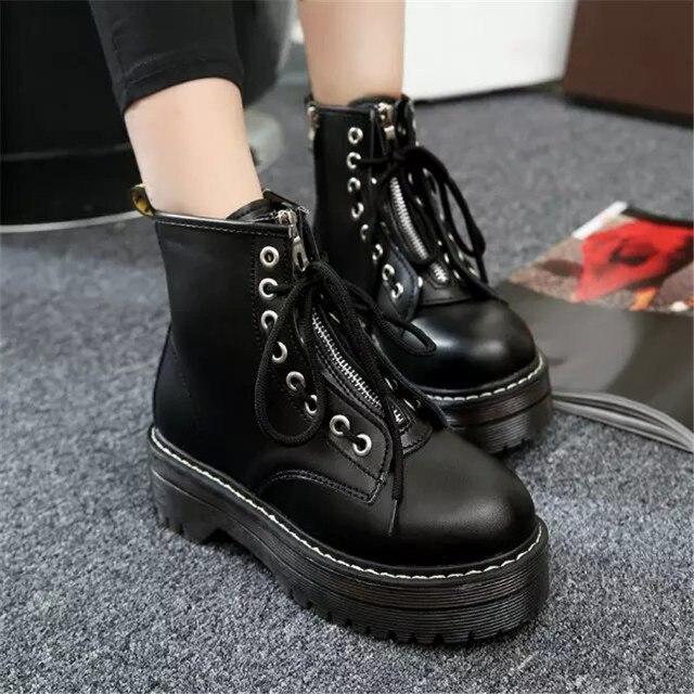 COOTELILI/Модная обувь на плоской подошве на молнии, женские ботинки из искусственной кожи на платформе и высоком каблуке, женская обувь на шнур...