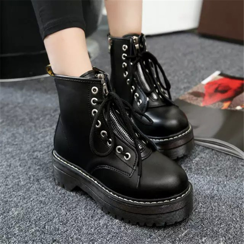 COOTELILI Fashion Zipper Flat Shoes Woman High Heel Platform PU Leather Boots Lace up Cow Muscle