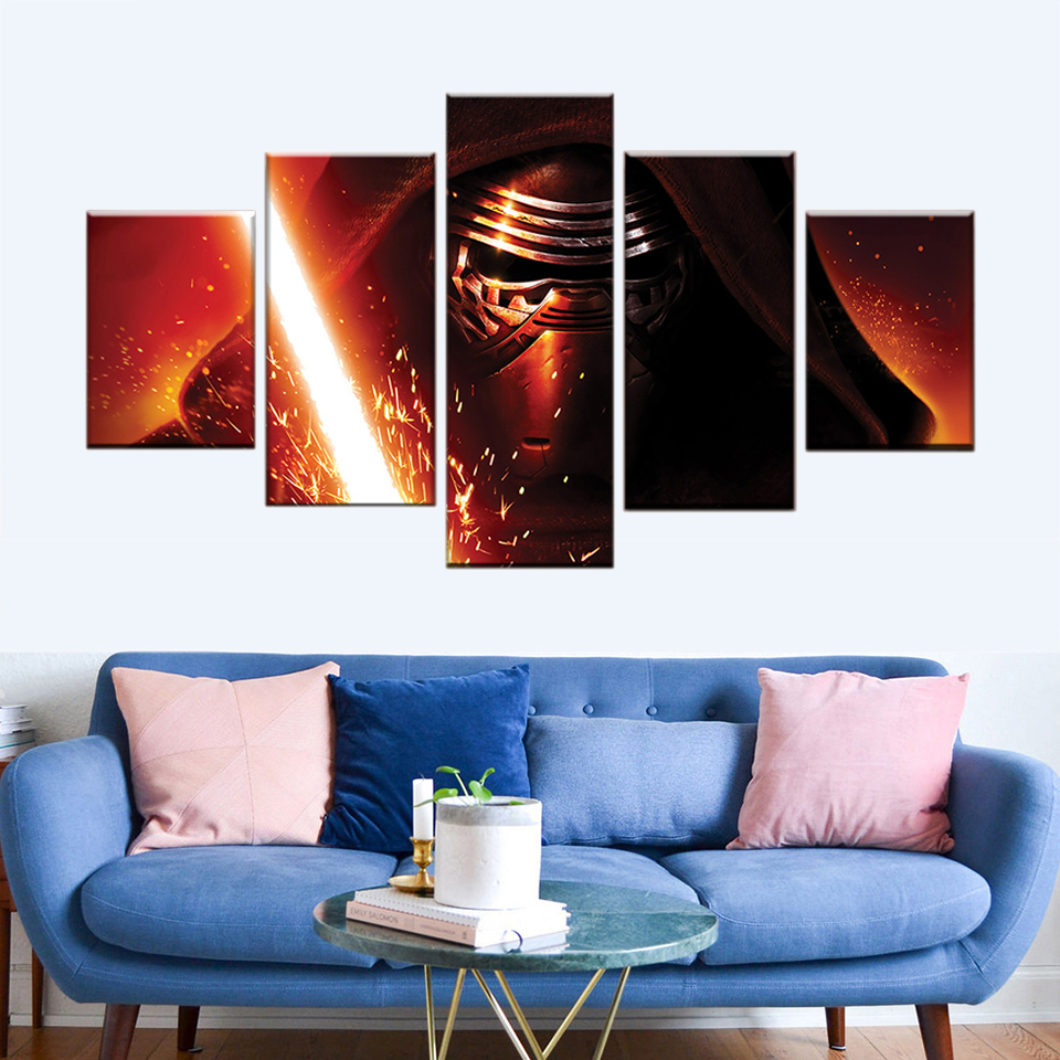 YJG Wall Art Canvas Painting Poster Wall Pictures Frame Home Decor 5 Panel Movie Star Wars Darth Vader Lightsaber Modular Canvas