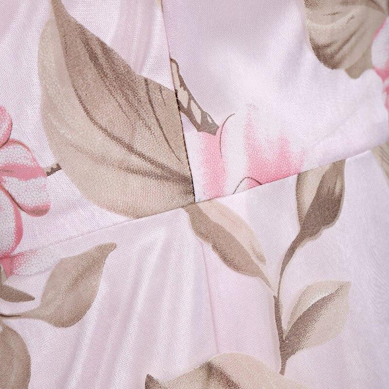 Azulina урожай розовый цветочный печати dress женщины ретро рукавов линии midi organza dress 2017 sheer summer dress дамы vestidos