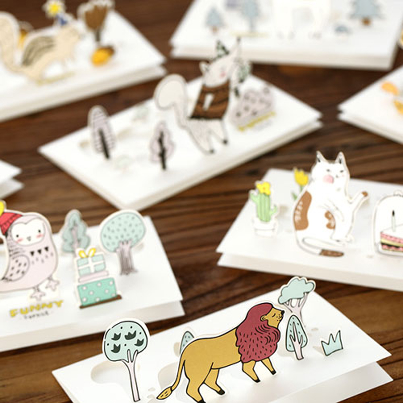 1 шт. 3D оригинальные Мультяшные животные Kitty олень конверт для поздравительной открытки kawaii друзья на день рождения Детские подарки карты Бу...