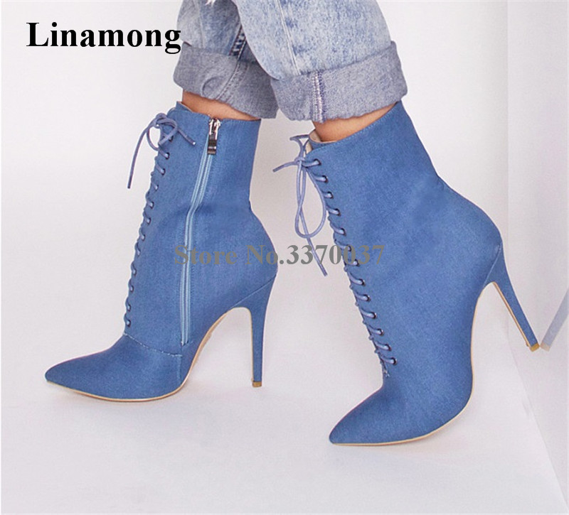 Women New Fashion Pointed Toe Blue Denim Ankle Boots Lace-up Stiletto Heel Short High Heel Boots Sexy Thin Heel Boots women new fashion pointed toe black suede thin heel short boots lace up high heel ankle booties classical style boots