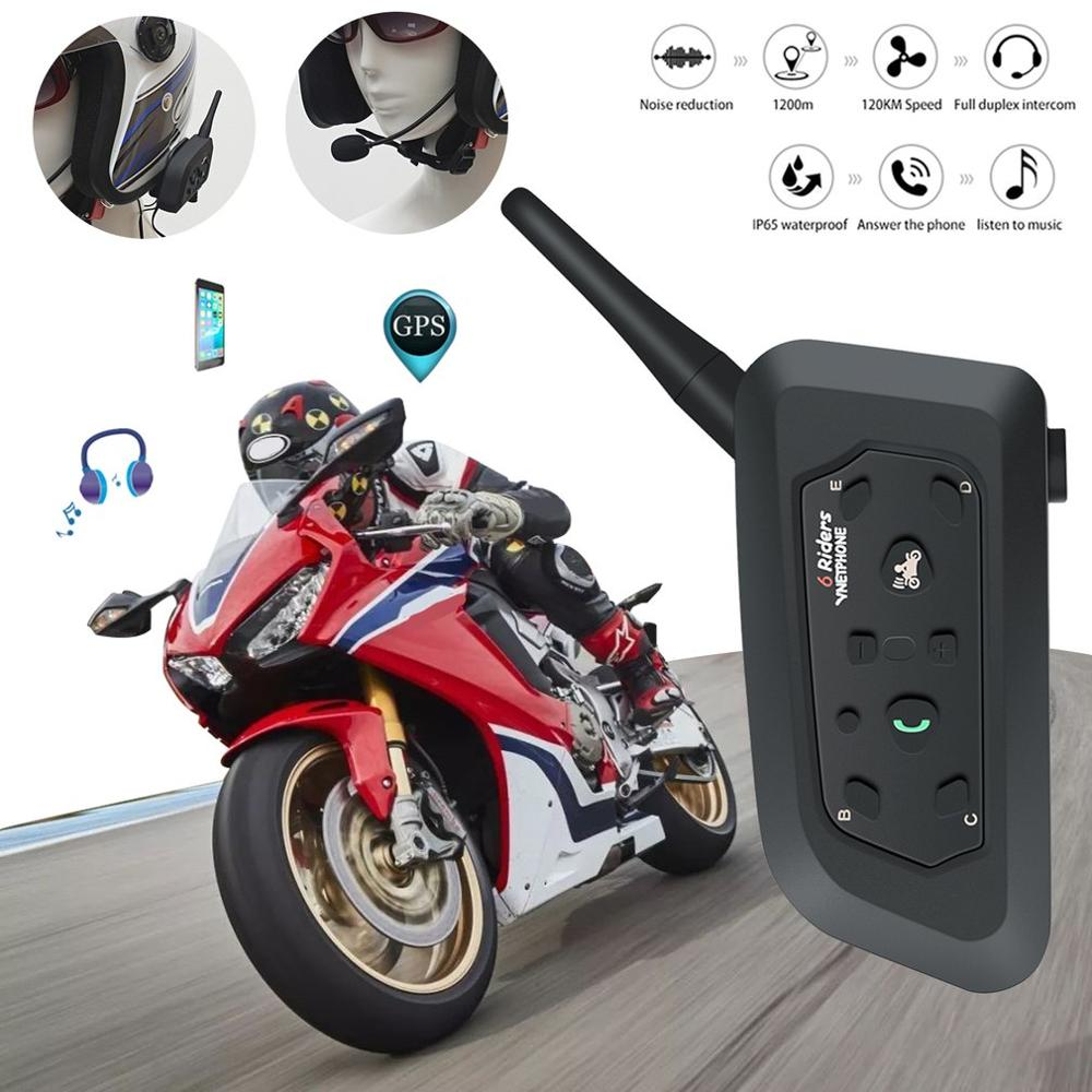 Fodsports 2 stücke V6 Pro Motorrad Helm Bluetooth Headset Intercom 6 Fahrer 1200M Drahtlose Intercomunicador BT Sprech