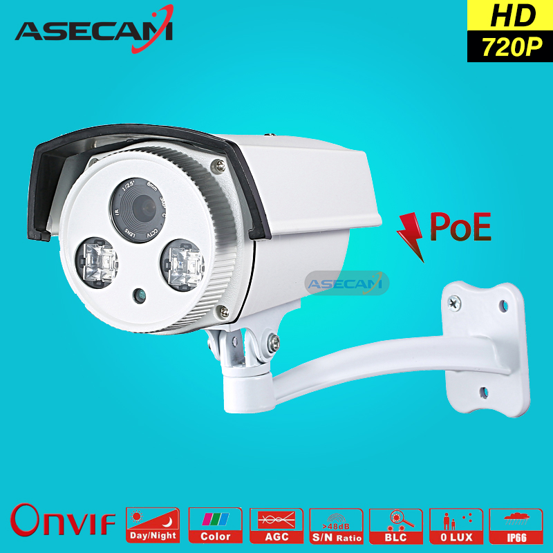 New 720P IP Camera CCTV 2* IR Array LED 48V POE Bullet Waterproof Onvif WebCam Security Surveillance Network GOOD Night Vision new model tr ip40ar731l poe 4pc 4mp array 30m ir network bullet security ip camera h264