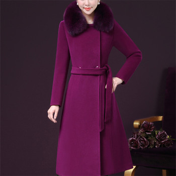2018 Women Fur Wool Coat And Blends Women Long Coat Winter Plus Size Belt Slim Outerwear High Quality Elegant Coats 4xl