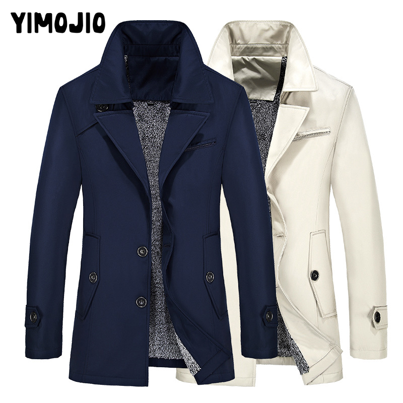 Plus Size Mens Trench Coat 2019 Mens Long Coat Slim Casual Coat Men Solid Pocket Male Trench Style Outside Wind Coat Warm Fleece