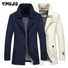 Plus Size Mens Trench Coat 2019 Long Slim Casual Men Solid Pocket Male Style Outside Wind Warm Fleece