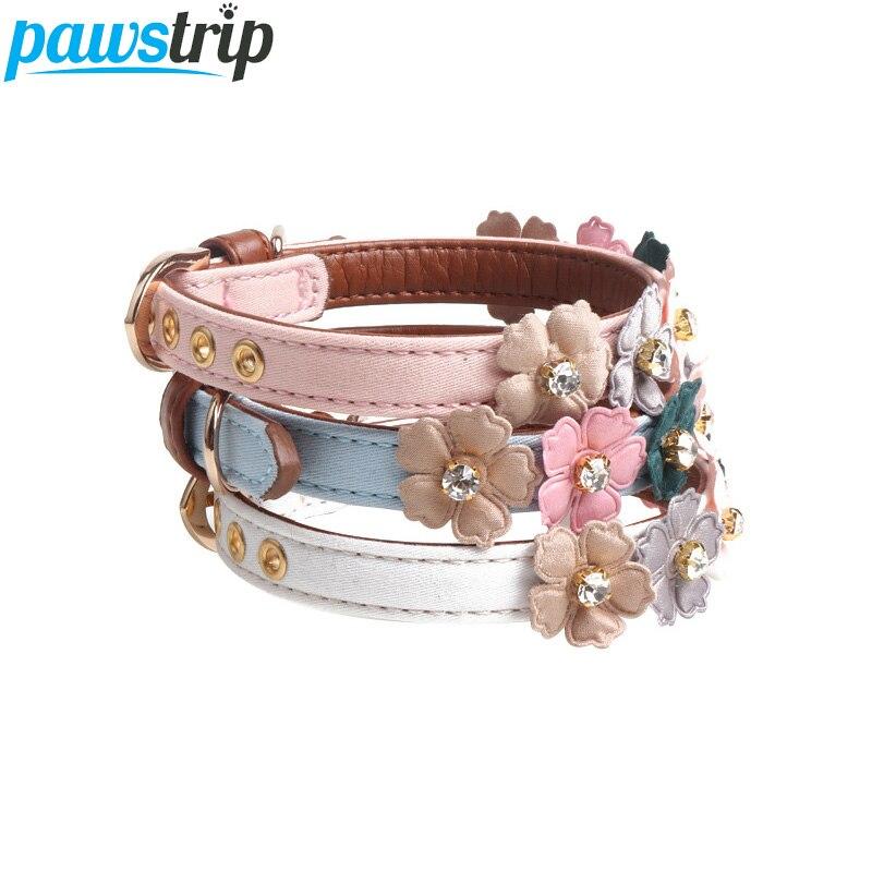 pawstrip 4 Colors Cute Flower Cat Collar Bling Rhinestone Dog Collar Leather font b Pet b