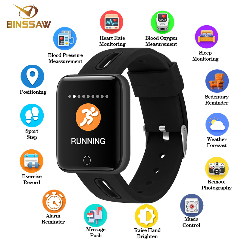 BINSSAW Smart Watch Men Women Bluetooth Sport Pedometer Clock LED Heart RateLarge screen color Touch Screen