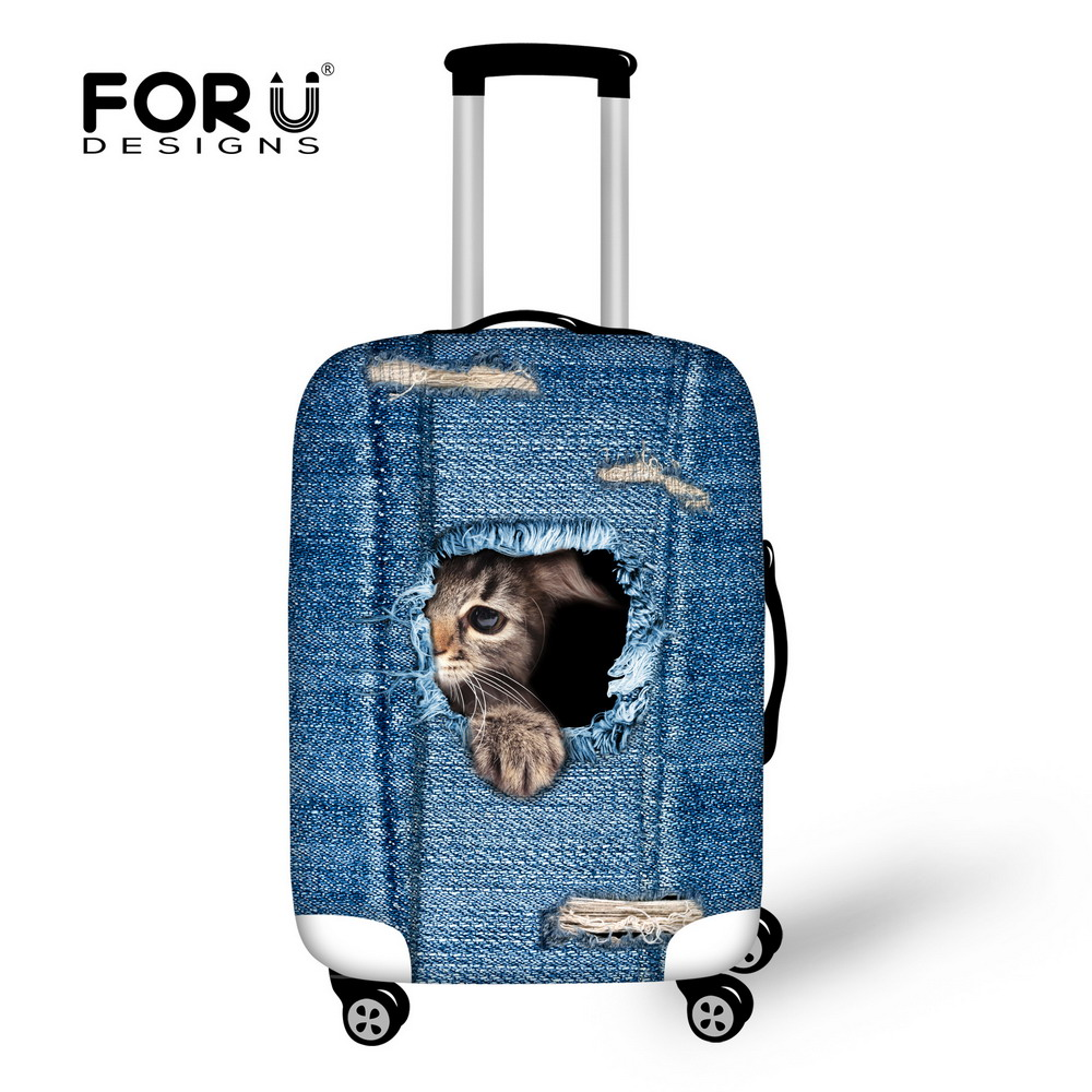 FORUDESIGNS Travel Suitcase Luggage Protective Cover Denim 3D Cat Dog Elastic Trolley Case Rain Covers For 18-30 Inch Trunk Case