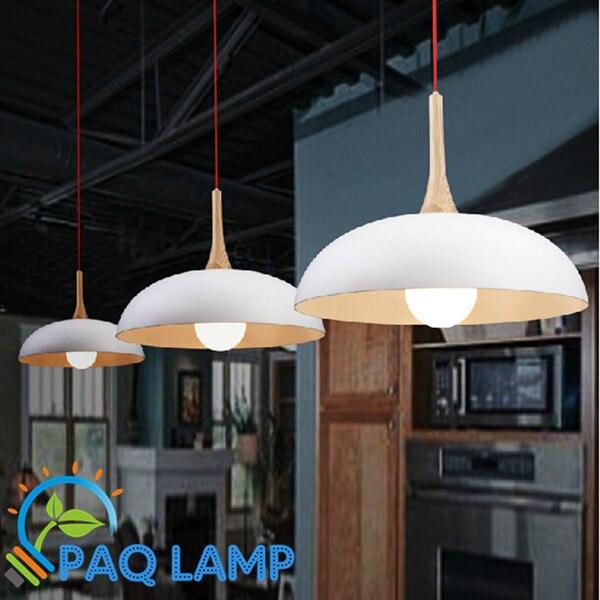 Modern pendant light Wood and aluminum lamp black/ white restaurant bar coffee dining room LED hanging light fixture