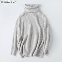 Rejina Pyo Women Oversize Basic Knitted Turtleneck Sweater Female Solid Turtleneck Collar Pullovers Warm 2017 New