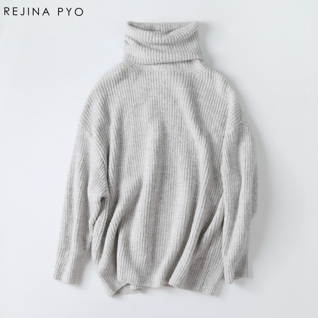 Rejina Pyo Women Oversize Basic Knitted Turtleneck Sweater Female ...