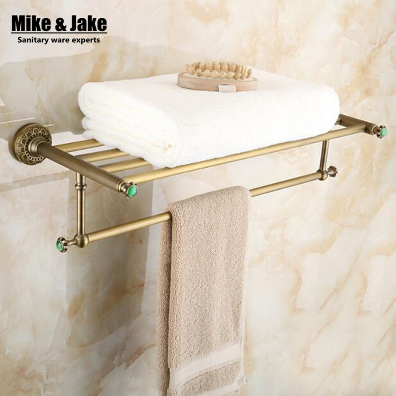 Whole brass green stone Antique bath towel rack bathroom towel shelf bathroom towel holder Antique Double towel shelf antique double brass bathroom shelf with green stone towel holder bathroom shelf with hooks basket for bathroom holder ssl s49