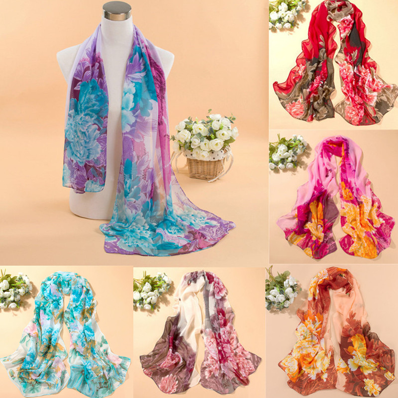 Scarves & Wraps  Scarves & Wraps: 2016 Fashion Women Chiffon Scarf Summer New Peony Printing Elegant Lady Shawls Scarves Silk Scarf 8 Colors 160 50cm