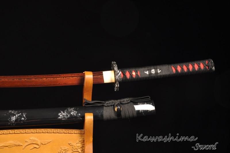 Kırmızı Bıçak Dövme Şam Katlanmış Çelik Gerçek Samuray - Ev Dekoru - Fotoğraf 3