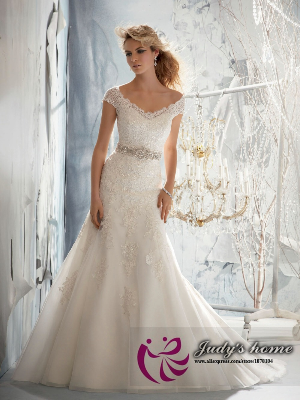 Exquisite Lace Appliqued Mermaid Wedding Dress Australia Wedding
