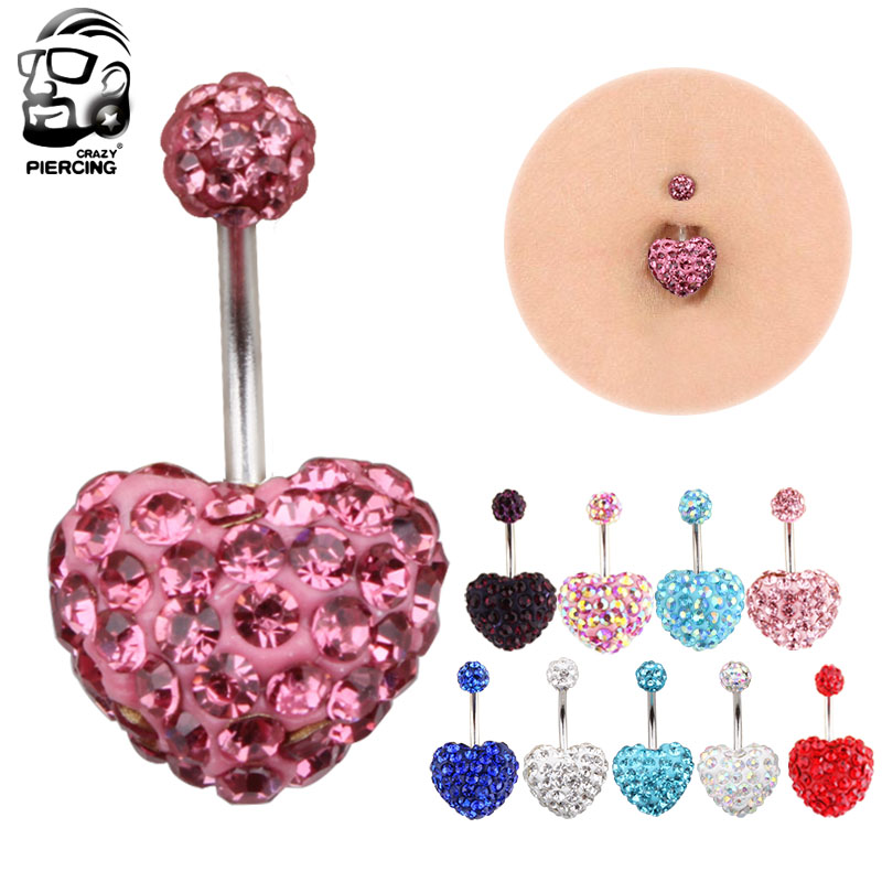 1 Piece Belly Button Ring Navel Piercing Nombril Ombligo Stud Epoxy Crystal Ferido Disco Balls Bar Sex Body Jewelry Earring